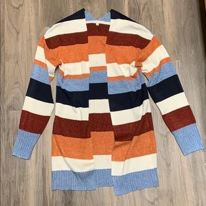 Fall Colors Open Front Striped Cotton Cardigan
